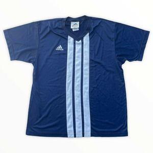 Vtg Adidas Blue White Soccer Jersey L